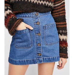 NEW Free People High Waist Denim Skirt